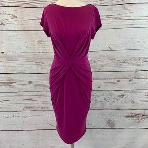 Liz Claiborne raspberry sheath dress ruched front